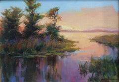 Sunset Lagoon, oil on board,