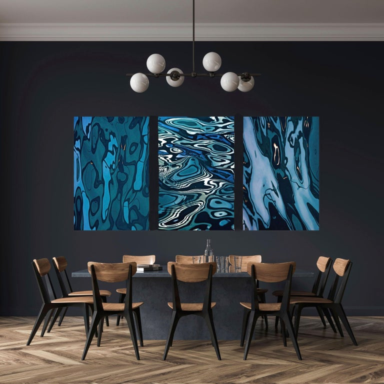 Lynn Savarese Color Photograph - Triptych - Blue Waters.  Archival Pigment Print Mounted on Plexi Lt ed 1/10