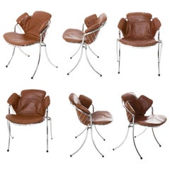 """Lynn"" Set of 6 Chrome and Leather Chairs for RIMA, 1970"