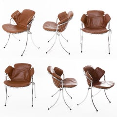 """""""Lynn"""" set of 6 chrome and leather chairs for Rima, 1970"""