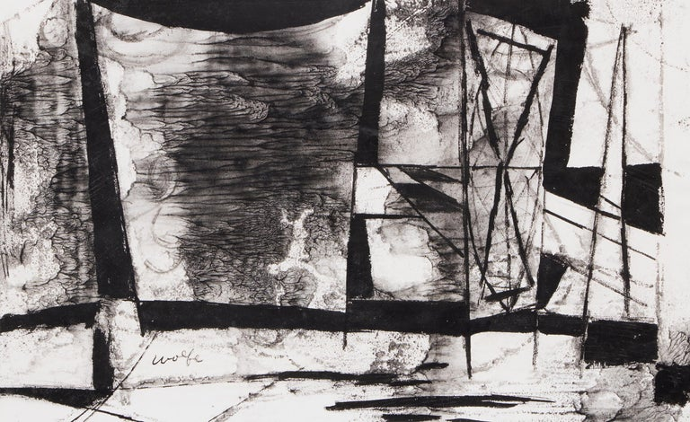 Untitled (Abstract in Black & White) - American Impressionist Mixed Media Art by Lynn Wolfe