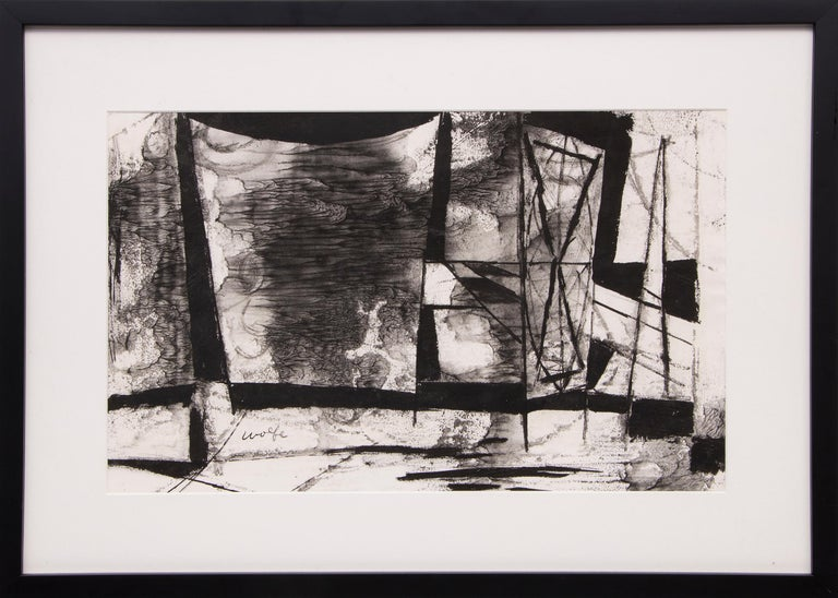 Untitled (Abstract in Black & White) - Mixed Media Art by Lynn Wolfe
