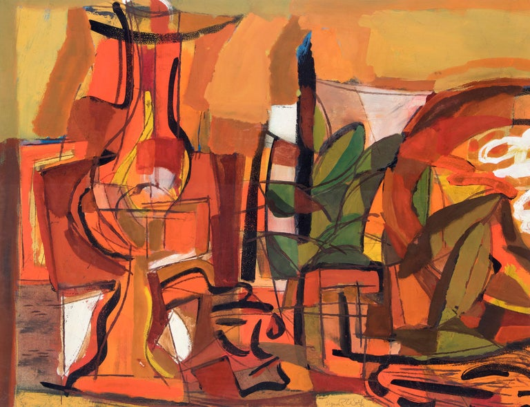 Untitled (Orange Abstract) - American Impressionist Mixed Media Art by Lynn Wolfe