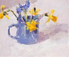 Grape Hyacinths and Daffodils in a Blue Jug BY LYNNE CARTLIDGE, Original Art