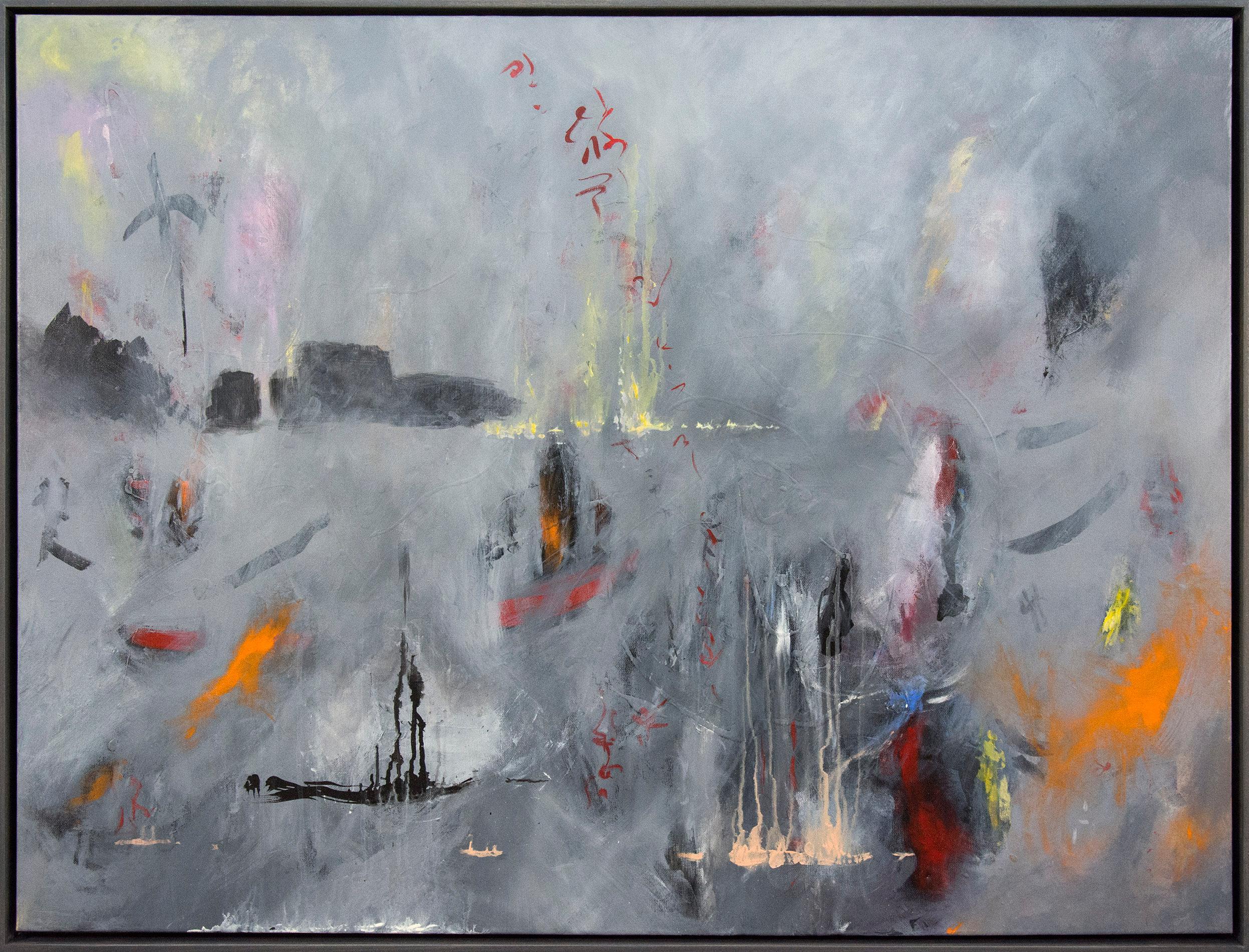 Avalon - large, warm, smokey grey, gestural, atmospheric acrylic on paper