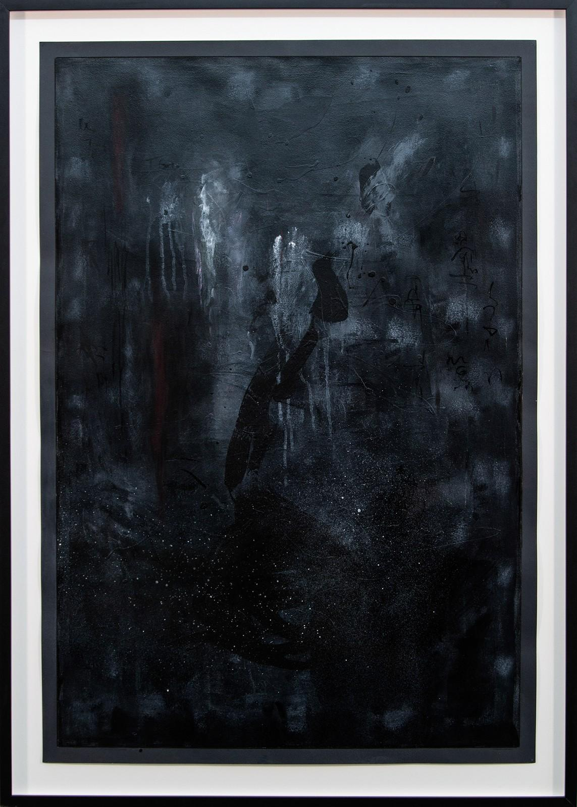 Forest at Night - large, dark, smokey, gestural, atmospheric acrylic on paper