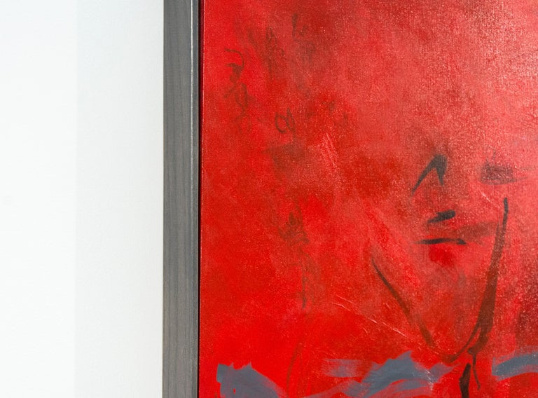 Seeing Through Red - bold, vibrant, gestural abstraction, acrylic on canvas - Contemporary Painting by Lynne Fernie