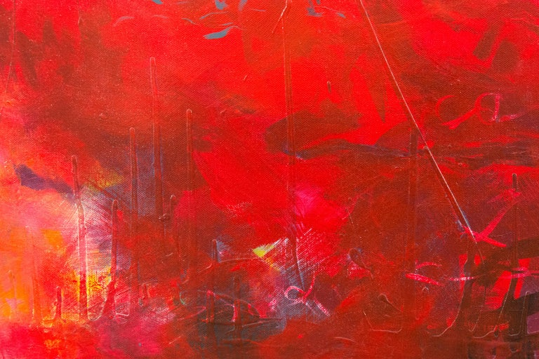 Dashes of charcoal and black dance on a fiery red ground in this emotive acrylic painting by Lynne Fernie.  Lynne Fernie is a Toronto-based artist, OCAD University honors graduate and award-winning documentary filmmaker. She has been the recipient