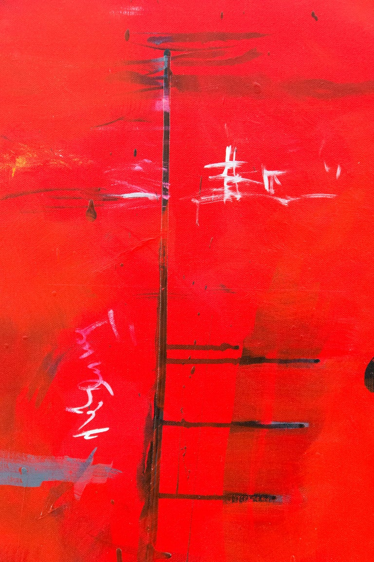 Seeing Through Red - bold, vibrant, gestural abstraction, acrylic on canvas For Sale 2