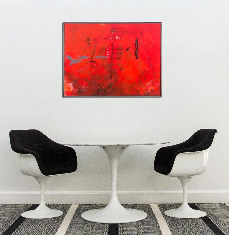 Seeing Through Red - bold, vibrant, gestural abstraction, acrylic on canvas For Sale 3