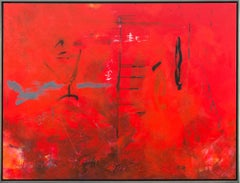 Seeing Through Red - bold, vibrant, gestural abstraction, acrylic on canvas