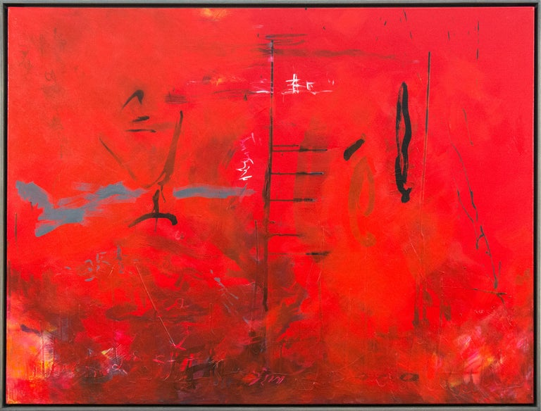 Seeing Through Red - bold, vibrant, gestural abstraction, acrylic on canvas - Painting by Lynne Fernie