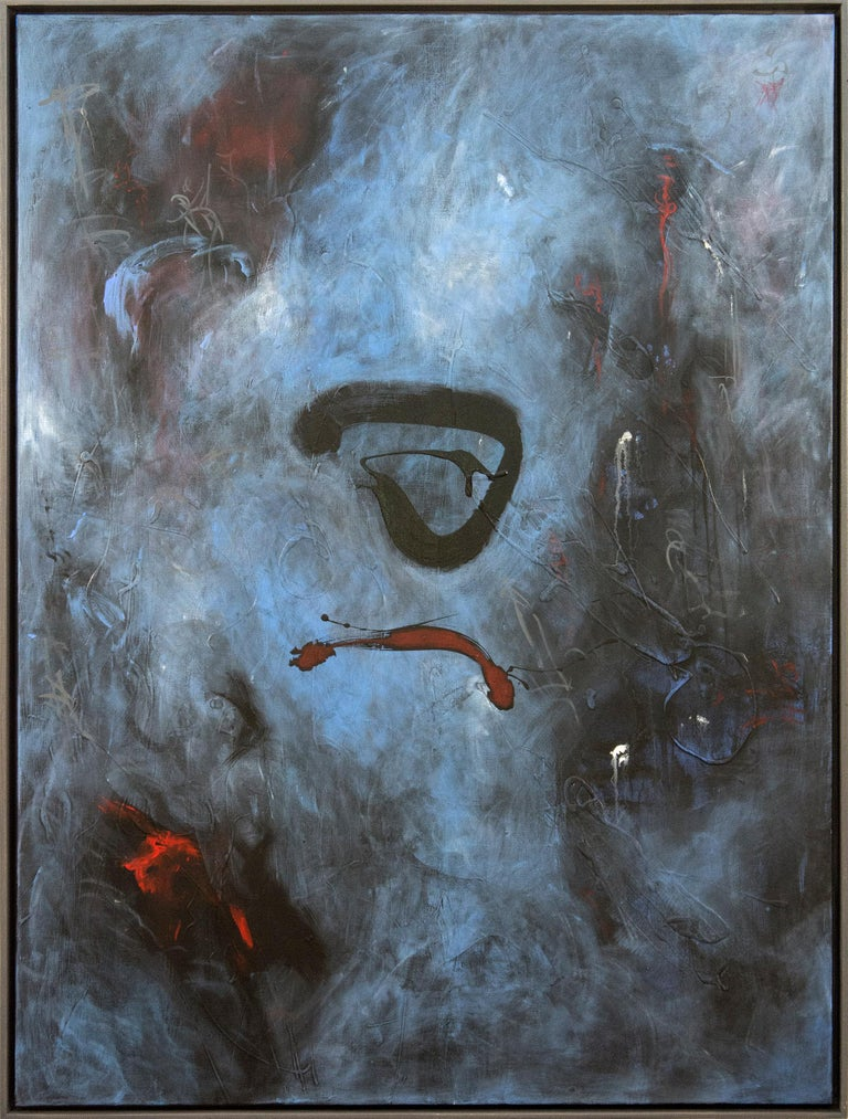 Dashes of crimson and black dance on a smokey-blue ground in this atmospheric acrylic painting by Lynne Fernie.   Fernie is a Toronto artist, OCAD honors graduate and award-winning documentary filmmaker. She has been the recipient of arts and film