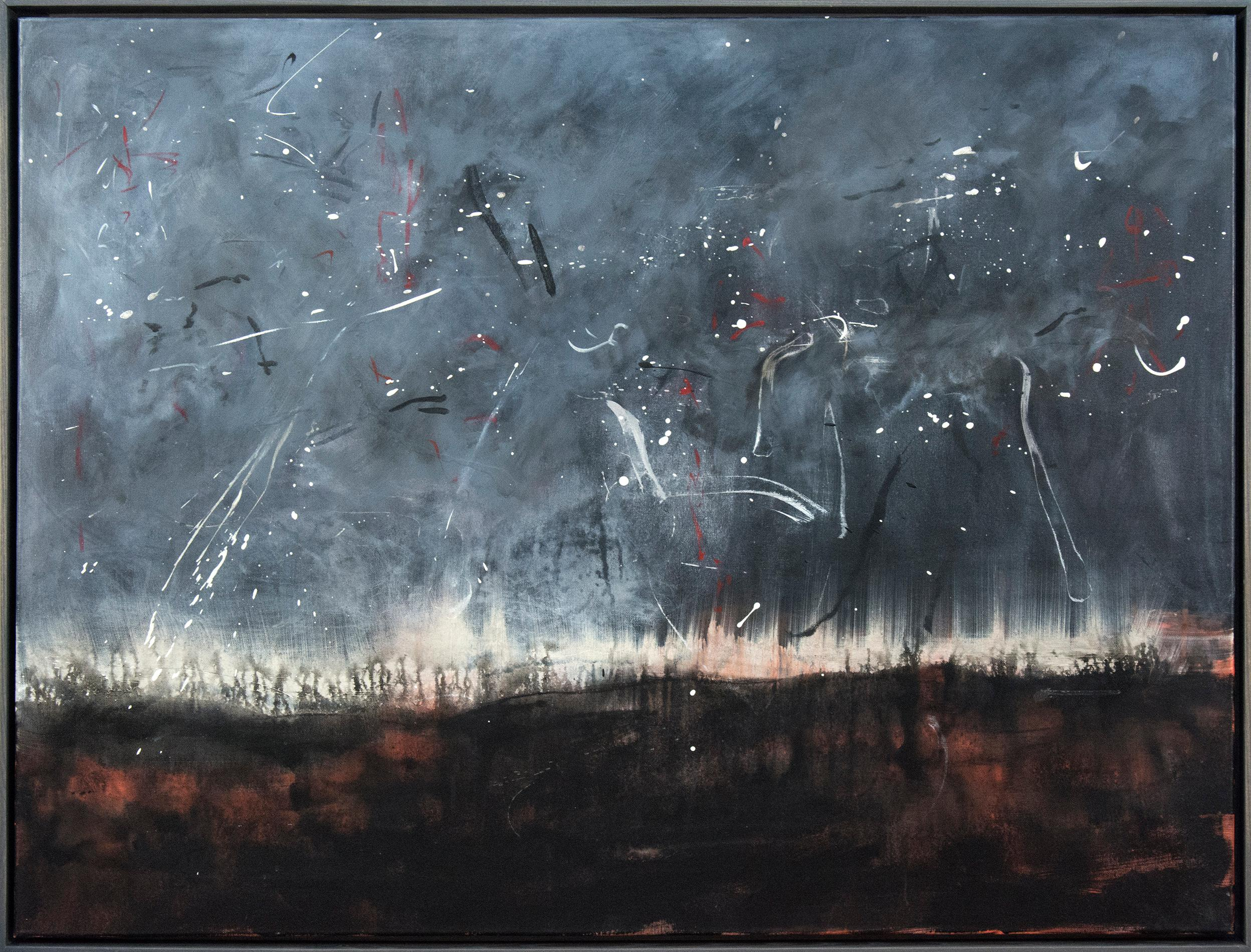 Storm - large, dark, smoky, atmospheric abstracted landscape, acrylic on canvas