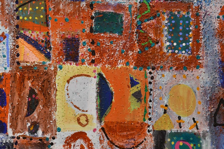 Large Abstract Painting by Lynne Golob Gelfman, Acrylic on Canvas, Dated 1986 In Good Condition For Sale In Miami, FL