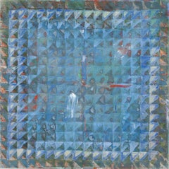 untitled blue 2, Abstract Grid Painting, Geometric Abstraction