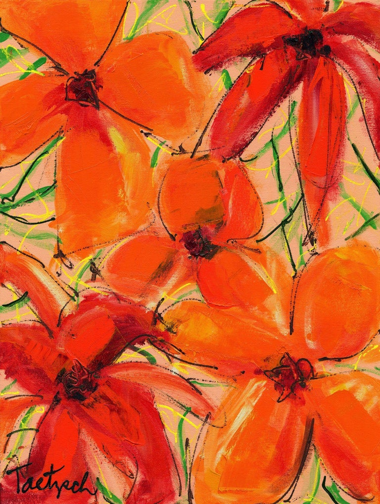 Lynne Taetzsch Abstract Painting - Abstract Floral Two, Painting, Acrylic on Canvas