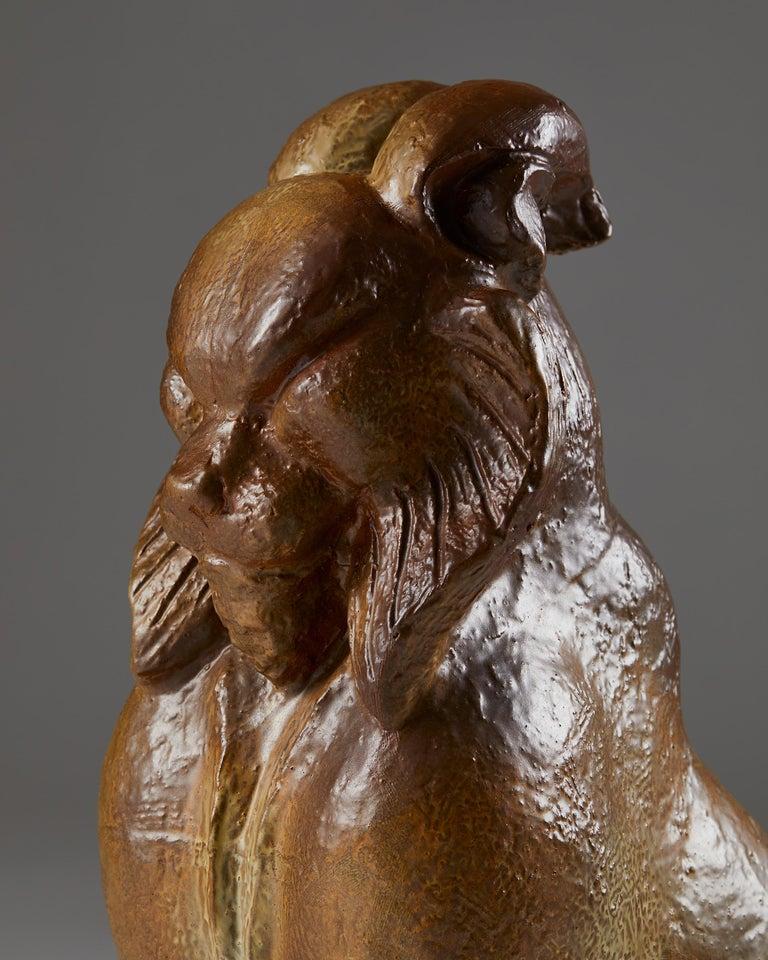Stoneware Lynx Sculpture Designed by Michael Shilkin for Arabia, Finland, 1950's For Sale