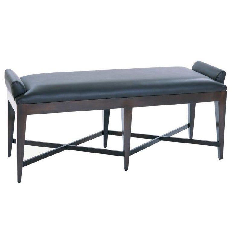 Groovy Lynxx Bench With Chocolate Maple Frame And Black Leather By Powell Bonnell Caraccident5 Cool Chair Designs And Ideas Caraccident5Info