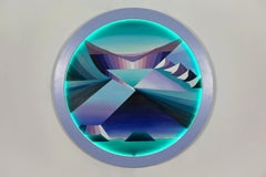 Circular LED painting by Lyora Pissarro titled Awareness is the Point of Change