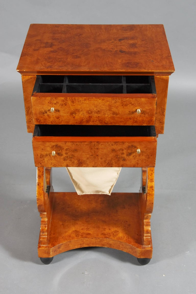 German Lyra Sewing Table in Biedermeier Style For Sale