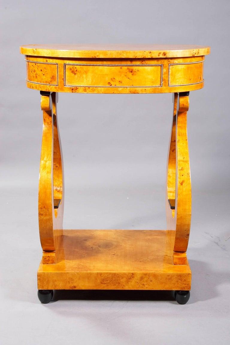 German Lyra Sewing Table in Biedermeier Style For Sale