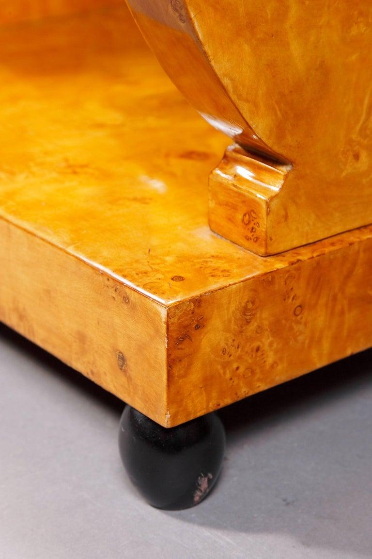 Veneer Lyra Sewing Table in Biedermeier Style For Sale