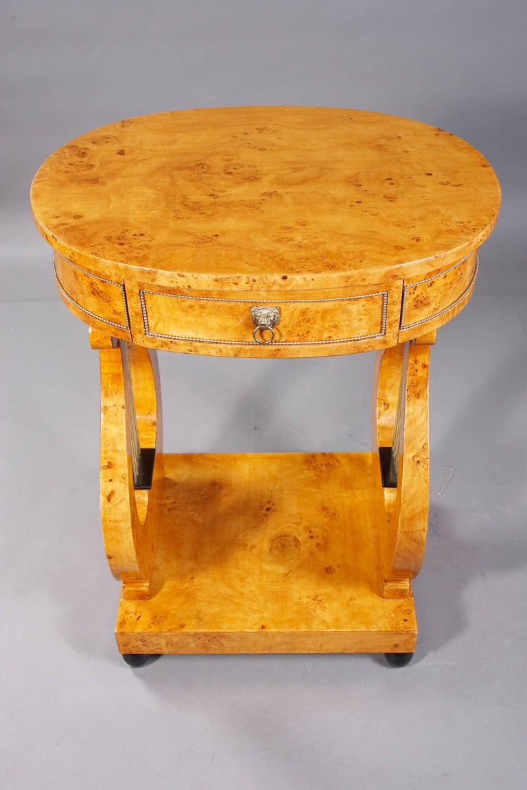 20th Century Lyra Sewing Table in Biedermeier Style For Sale