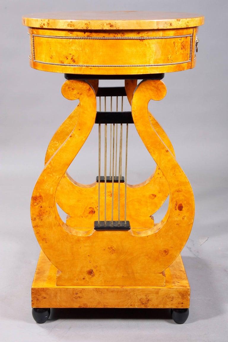 Birdseye Maple Lyra Sewing Table in Biedermeier Style For Sale