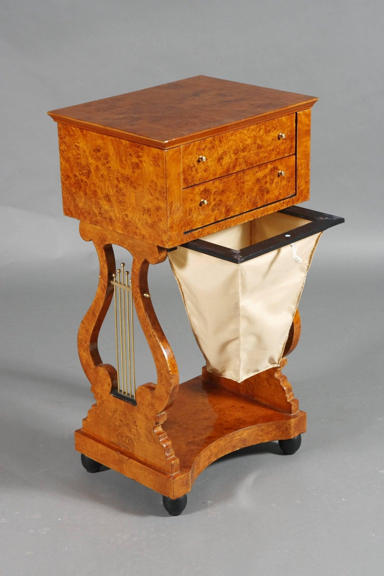 Lyra Sewing Table in Biedermeier Style For Sale 2