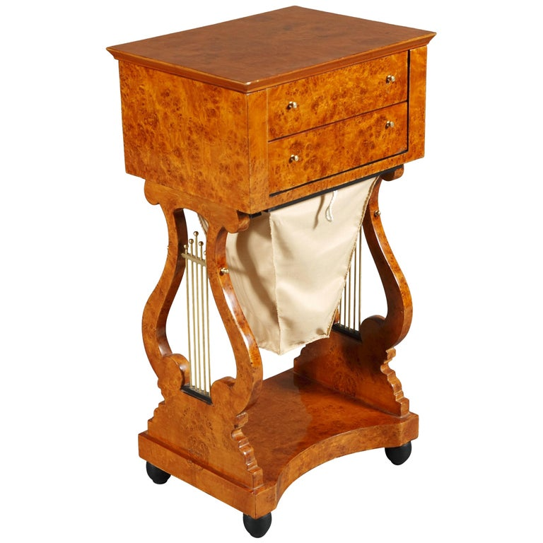 Lyra Sewing Table in Biedermeier Style For Sale