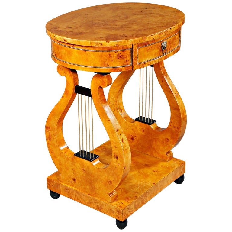 Lyra Sewing Table in Biedermeier Style For Sale