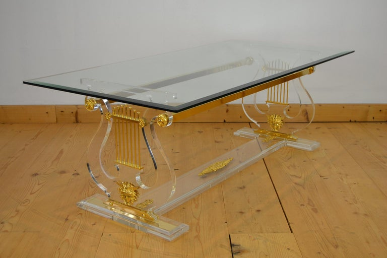 Lyre Coffee Table, Lucite Base with Beveled Glass Table Top, Hollywood Regency For Sale 5