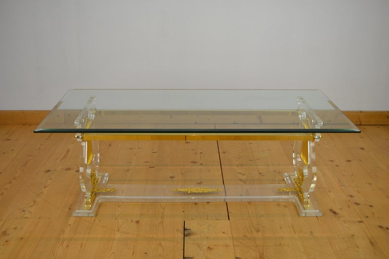 Lyre Coffee Table, Lucite Base with Beveled Glass Table Top, Hollywood Regency For Sale 6