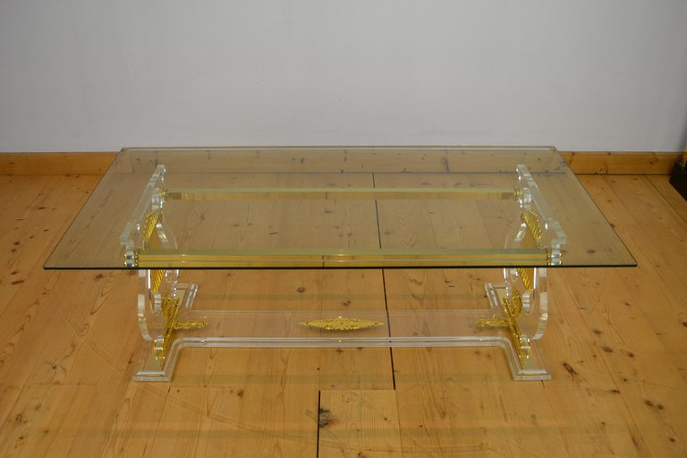 Lyre Coffee Table, Lucite Base with Beveled Glass Table Top, Hollywood Regency For Sale 7