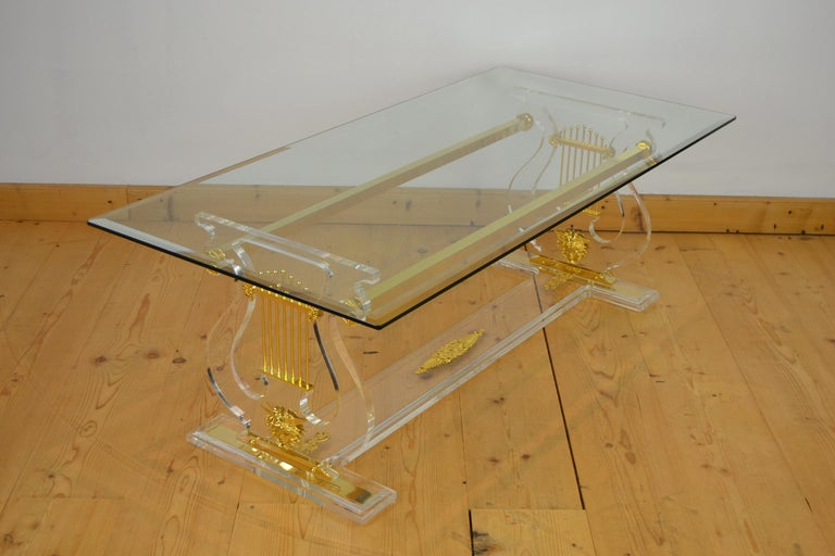 Lyre Coffee Table, Lucite Base with Beveled Glass Table Top, Hollywood Regency For Sale 9