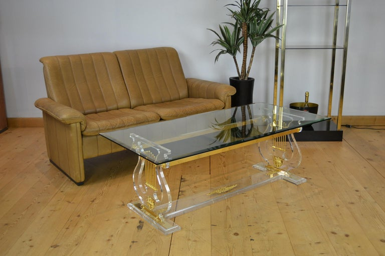 Lyre Coffee Table, Lucite Base with Beveled Glass Table Top, Hollywood Regency For Sale 13