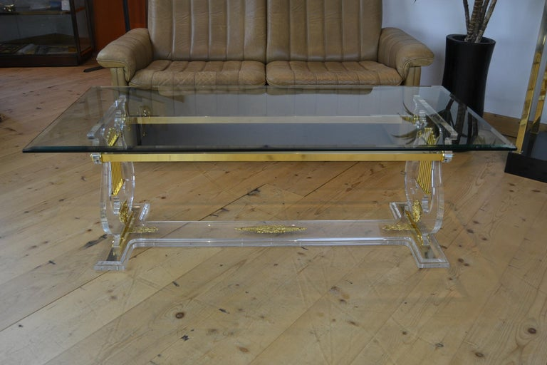 Lyre Coffee Table, Lucite Base with Beveled Glass Table Top, Hollywood Regency For Sale 2