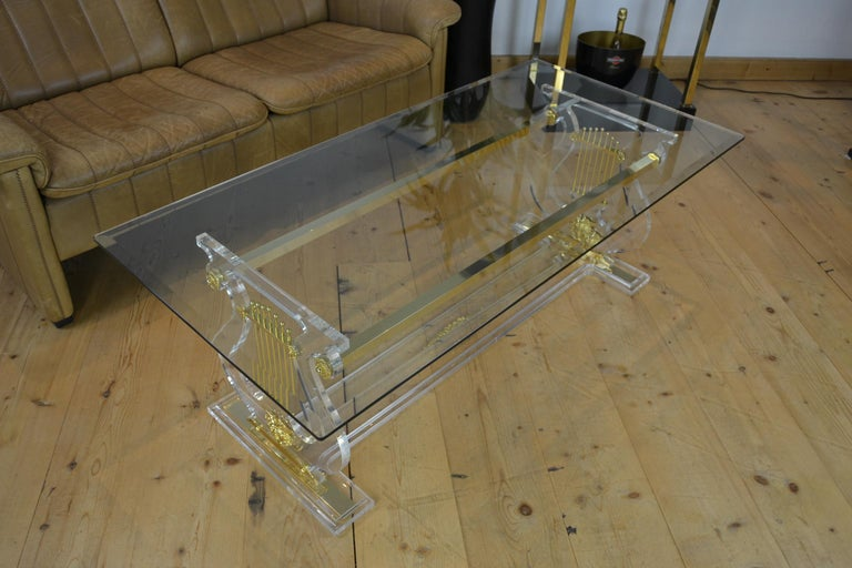 Lyre Coffee Table, Lucite Base with Beveled Glass Table Top, Hollywood Regency For Sale 3