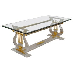 Lyre Coffee Table, Lucite Base with Beveled Glass Table Top, Hollywood Regency