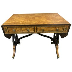 Lyre Motife Birdseye Maple Drop-Leaf Writing Desk