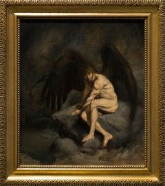 Fallen Angel - Figurative Painting Colors Dark Black Brown Grey Pale