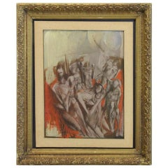 "Lyubomyr Medvid Oil on Board, ""Figural Grouping"""