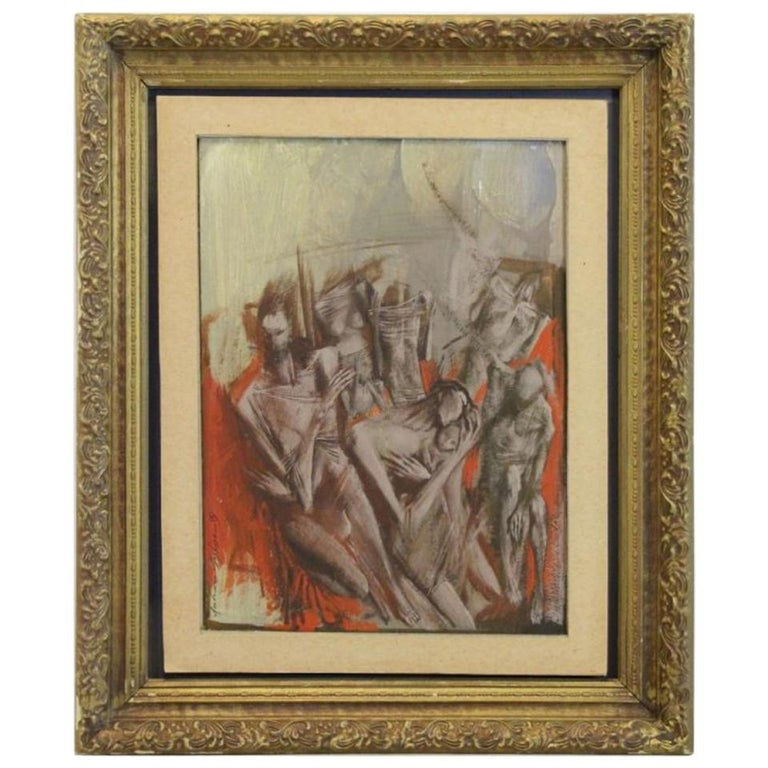 """Lyubomyr Medvid Oil on Board, """"Figural Grouping"""" For Sale"""