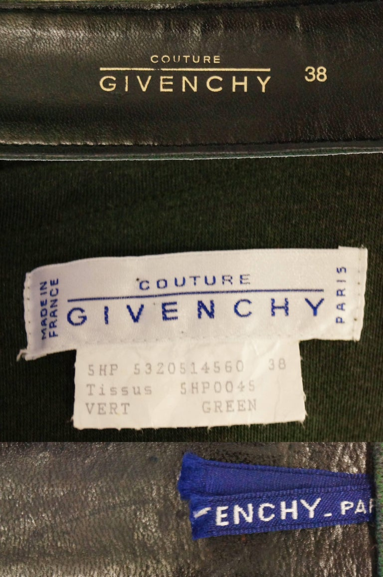 M 1980s Givenchy Couture Olive Green Wool Button Back Dress For Sale 5