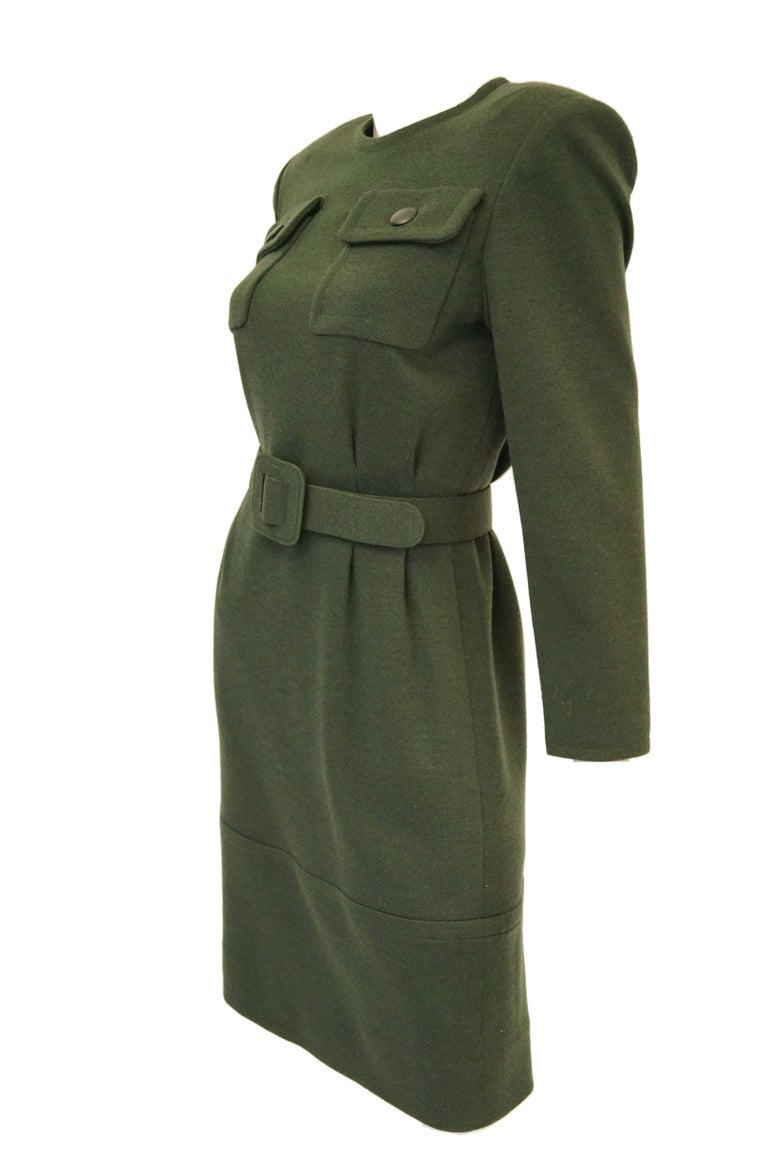 Black M 1980s Givenchy Couture Olive Green Wool Button Back Dress For Sale