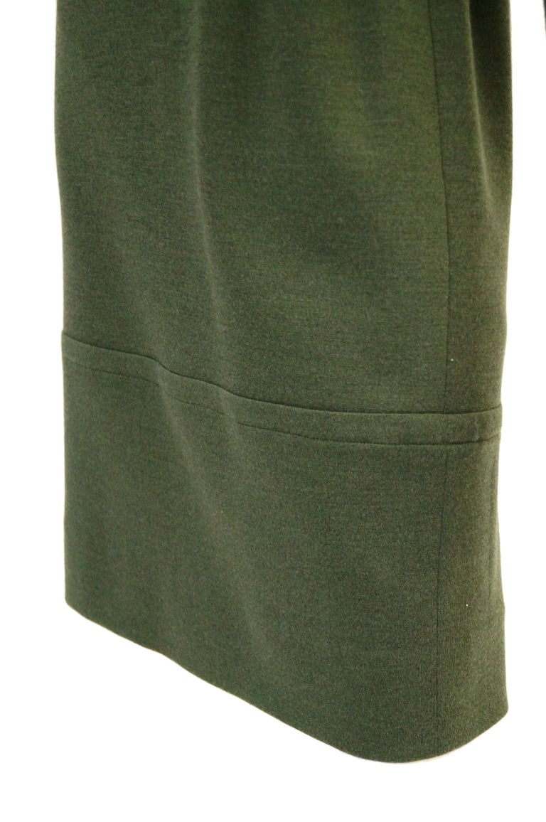 M 1980s Givenchy Couture Olive Green Wool Button Back Dress In Excellent Condition For Sale In Houston, TX