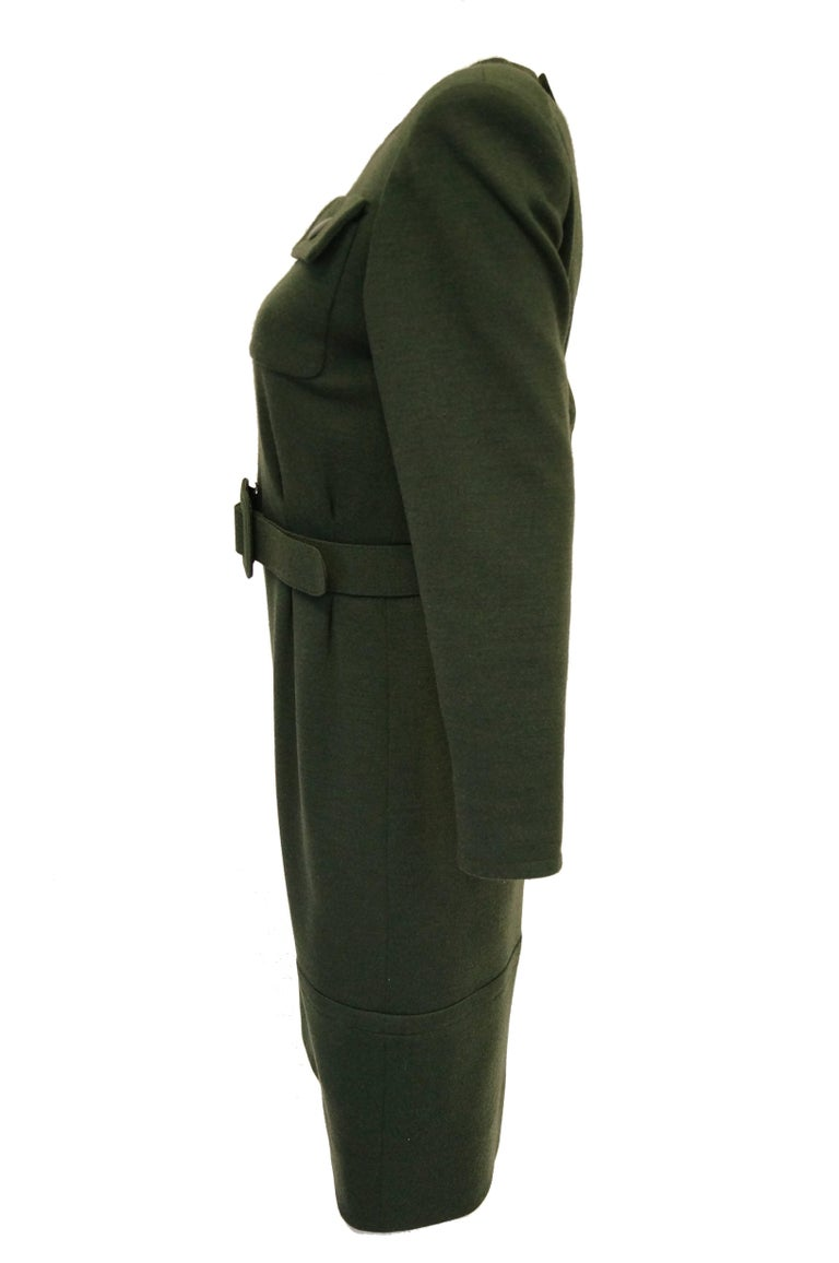 Women's M 1980s Givenchy Couture Olive Green Wool Button Back Dress For Sale