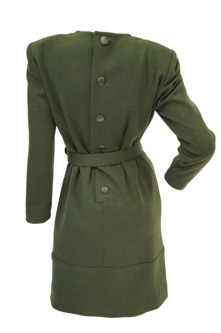 M 1980s Givenchy Couture Olive Green Wool Button Back Dress For Sale 2