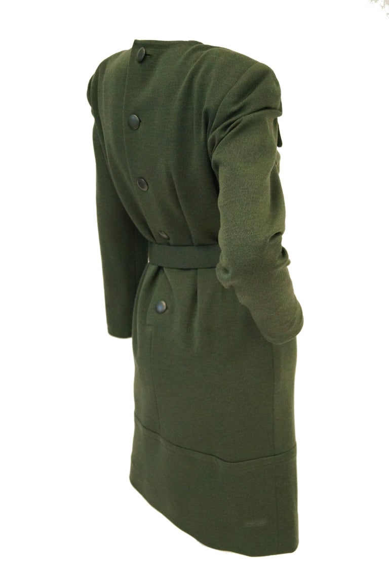 M 1980s Givenchy Couture Olive Green Wool Button Back Dress For Sale 3